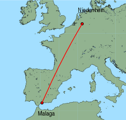 Map of route from Malaga to Weeze