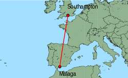 Map of route from Southampton to Malaga