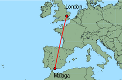 Map of route from Malaga to London (Stansted)