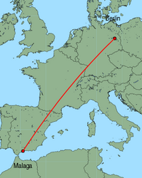 Map of route from Malaga to Berlin (Schoenefeld)