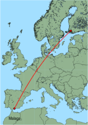 Map of route from Turku to Malaga
