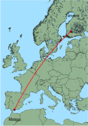 Map of route from Malaga to Tampere
