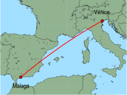 Map of route from Malaga to Venice(MarcoPolo)