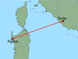 Map of route from Alghero to Rome(Ciampino)