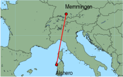 Map of route from Alghero to Memmingen