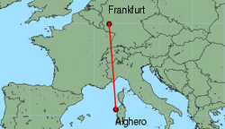 Map of route from Alghero to Frankfurt (Hahn)