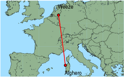 Map of route from Alghero to Weeze