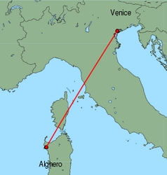 Map of route from Alghero to Venice (Marco Polo)