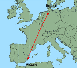 Map of route from Alicante to Bremen