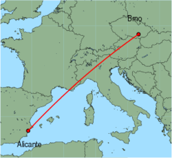 Map of route from Alicante to Brno