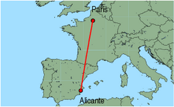 Map of route from Alicante to Paris (Beauvais)