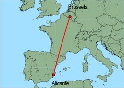 Map of route from Alicante to Brussels (Charleroi)