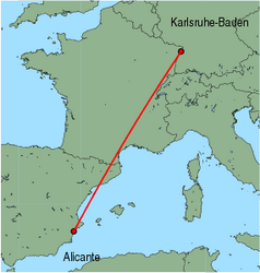 Map of route from Alicante to Karlsruhe-Baden