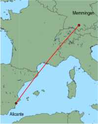 Map of route from Alicante to Memmingen