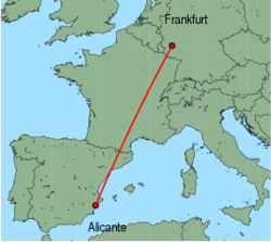 Map of route from Alicante to Frankfurt (Hahn)