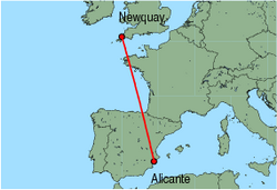 Map of route from Alicante to Newquay