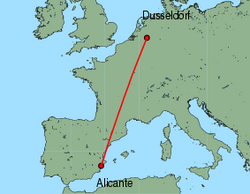 Map of route from Alicante to Weeze