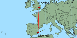 Map of route from Alicante to London (Stansted)