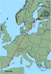 Map of route from Alicante to Tampere