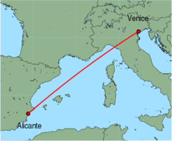 Map of route from Alicante to Venice (Marco Polo)
