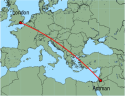 Map of route from London (Gatwick) to Amman