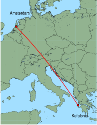 Map of route from Kefalonia to Amsterdam