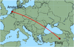 Map of route from Elazig to Amsterdam
