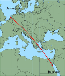 Map of route from Hurghada to Amsterdam