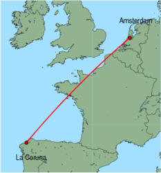 Map of route from La Coruna to Amsterdam