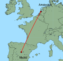 Map of route from Amsterdam to Madrid
