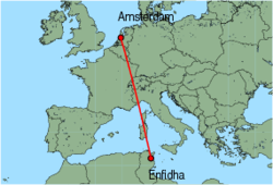 Map of route from Amsterdam to Enfidha