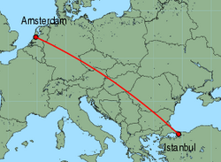 Map of route from Amsterdam to Istanbul (Sabiha)
