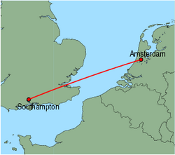Map of route from Amsterdam to Southampton