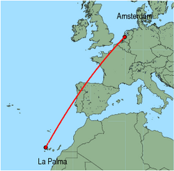 Map of route from Amsterdam to La Palma