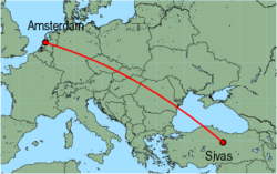 Map of route from Sivas to Amsterdam