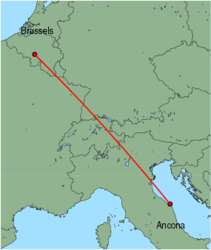 Map of route from Ancona to Brussels (Charleroi)
