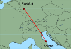 Map of route from Ancona to Frankfurt(Hahn)