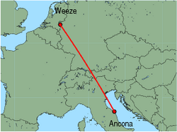 Map of route from Ancona to Weeze