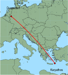 Map of route from Dusseldorf to Karpathos