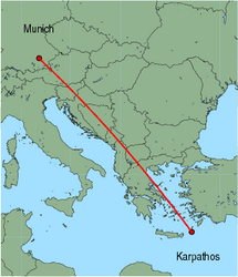 Map of route from Munich to Karpathos