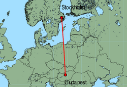 Map of route from Stockholm (Arlanda) to Budapest