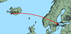 Map of route from Reykjavik to Stockholm (Arlanda)