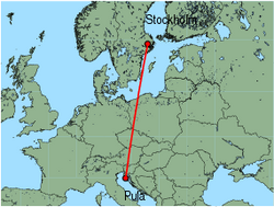 Map of route from Stockholm (Arlanda) to Pula