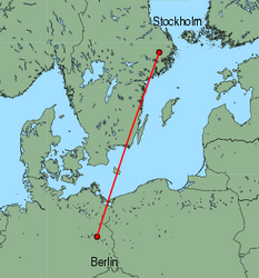 Map of route from Stockholm (Arlanda) to Berlin (Schoenefeld)