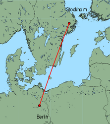 Map of route from Stockholm(Arlanda) to Berlin(Tegel)