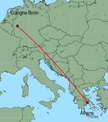Map of route from Cologne-Bonn to Athens