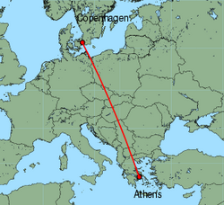 Map of route from Copenhagen to Athens