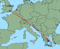 Map of route from London(Gatwick) to Athens
