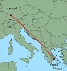 Map of route from Stuttgart to Athens