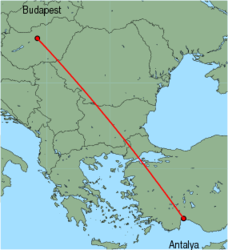 Map of route from Budapest to Antalya